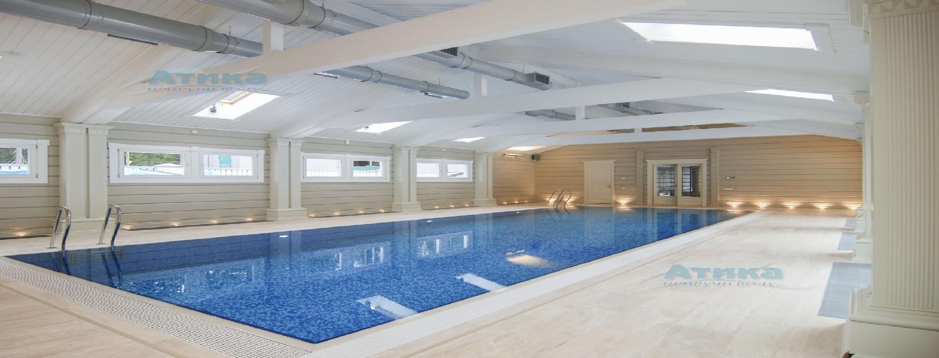Приточно-вытяжная вентиляция и осушение воздуха в помещении бассейнов.